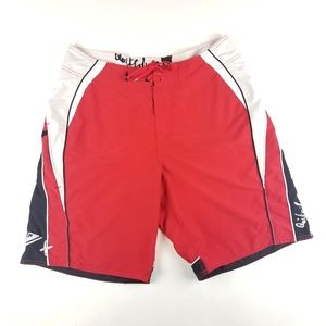 Mens Quiksilver Red Black Swim Shorts Size 34